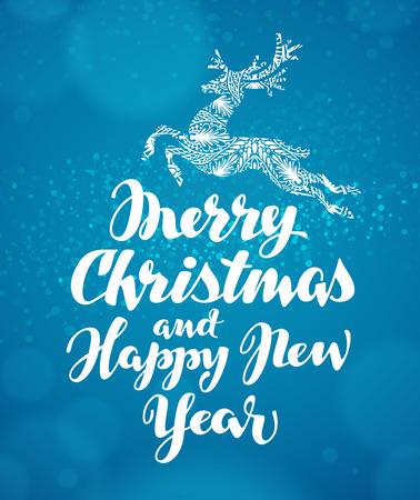 Christmas greeting card. Decorative xmas reindeer. Vector