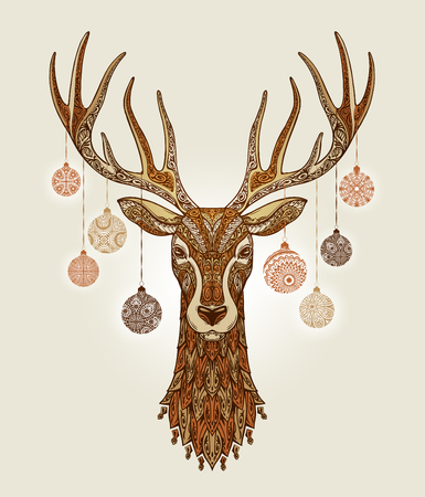 Decorative christmas deer with ornament and decoration balls Illustration