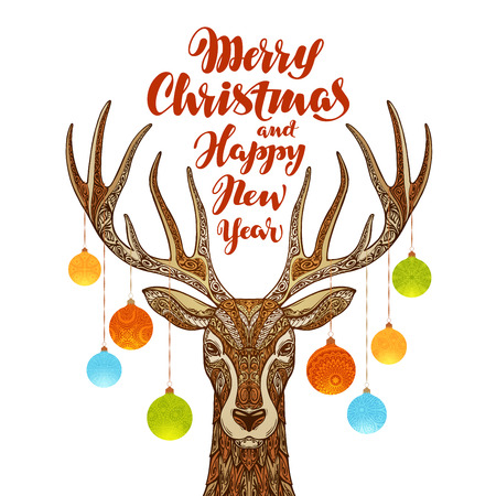 festive background: Merry Christmas and Happy New Year. Reindeer with xmas decorations Illustration