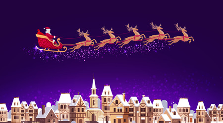 pulled over: Santa Claus in sleigh pulled by reindeer flying over city. Christmas vector illustration