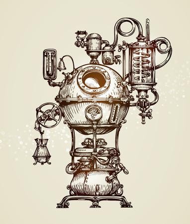 Vintage distillation apparatus sketch. moonshine vector illustration Vettoriali