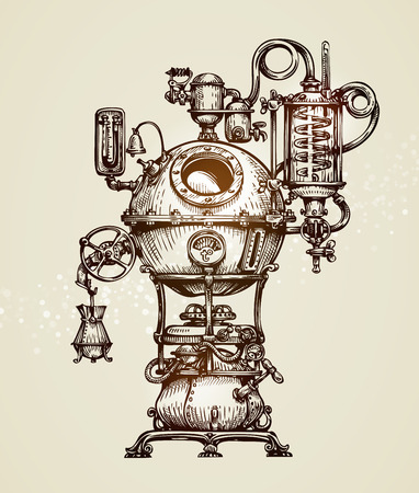 Vintage distillation apparatus sketch. moonshine vector illustration Иллюстрация