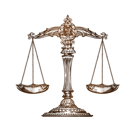 Scales of justice. Vintage sketch vector isolated on white background