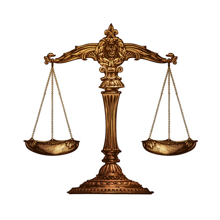 Scales of justice isolated on white background. Vector illustration Illustration