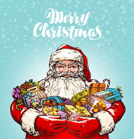festive background: Merry Christmas greeting card. Santa Claus and gifts. Vector illustration