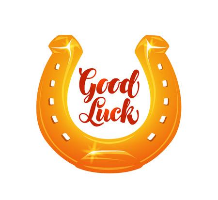 Golden horseshoe for luck. Vector illustration isolated on white background Illustration