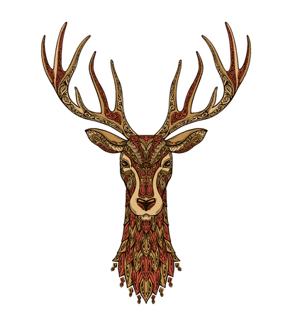 Deer decorative. Christmas reindeer. Vector illustration isolated on white background Illustration