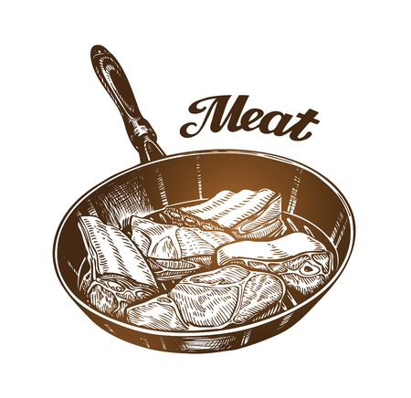 Cooking. Frying pan with meat. Sketch vector illustration isolated on white background Illustration