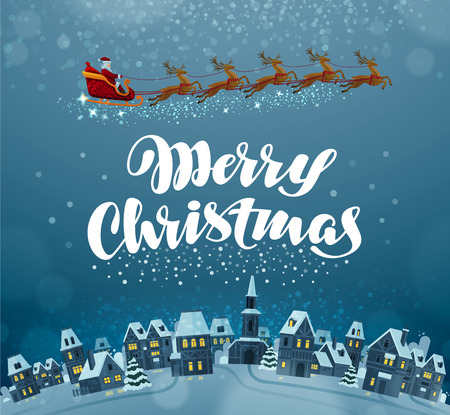blue roof: merry Christmas and happy new year. Xmas greeting card vector illustration