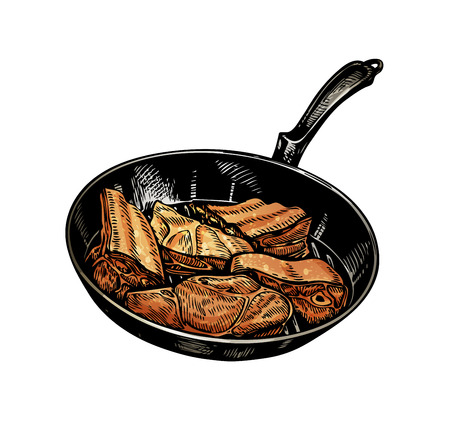 skillet: Cuisine. Pan and meat. Vector illustration isolated on white background