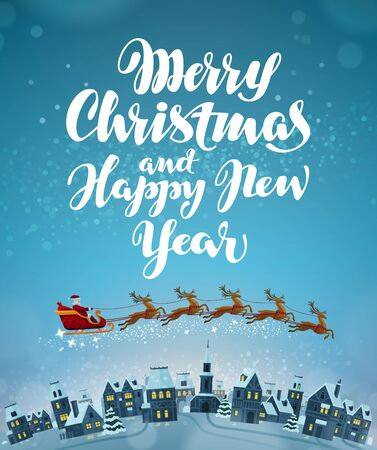 Merry Christmas and Happy New Year. Vector greeting card Illustration
