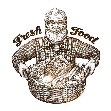 coverall: Farmer with basket of fresh vegetables. Sketch vector
