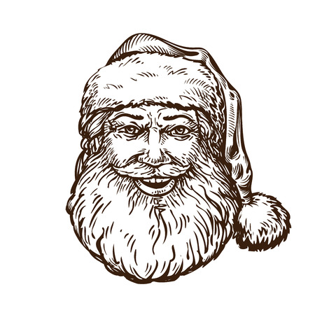 Jolly Santa Claus. Sketch vector isolated on white background
