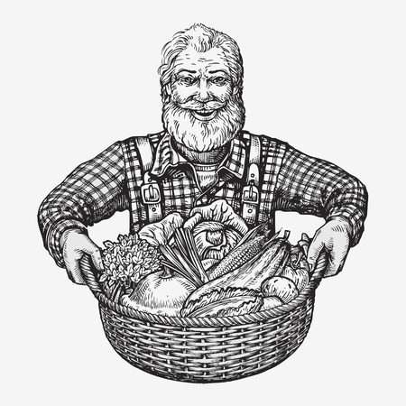 old man smiling: Farmer holding a basket of vegetables. Natural, organic products