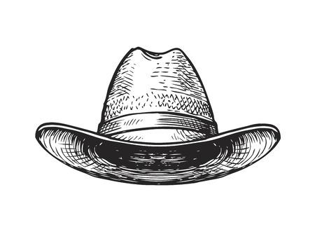Sombrero de granjero, un jardinero o un vaquero. bosquejo del vector aislado en el fondo blanco