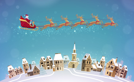 townscape: Christmas, vector. Santa Claus rides in sleigh pulled by reindeer over city