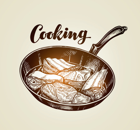 cooked meat: Cooked meat steak on frying pan. Vector illustration for restaurant and cafe Illustration