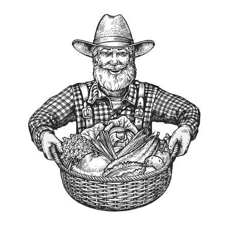happy farmer: Happy farmer with a basket of vegetables. Hand drawn sketch vector illustration isolated on white background
