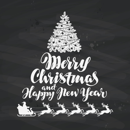 claus: Christmas. Holiday greetings written on black chalkboard. Vector Illustration