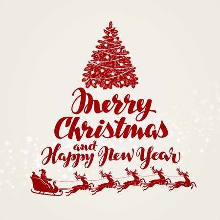 Christmas, greeting card. Beautiful handwritten lettering Vector