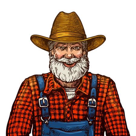 fermier barbu heureux sourire dans le chapeau isolé sur fond blanc