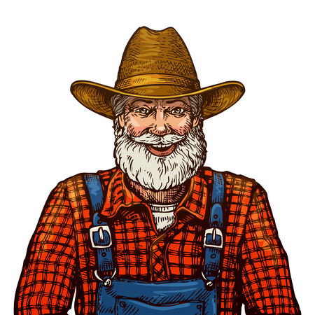 Happy smiling bearded farmer in hat isolated on white background Vectores