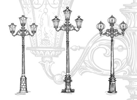 Lampione o lampione. illustrazione vettoriale Sketch isolato su sfondo bianco Vettoriali