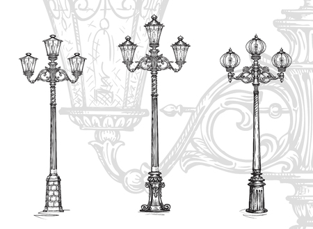 lampposts: Lamppost or street lamp. Sketch vector illustration isolated on white background