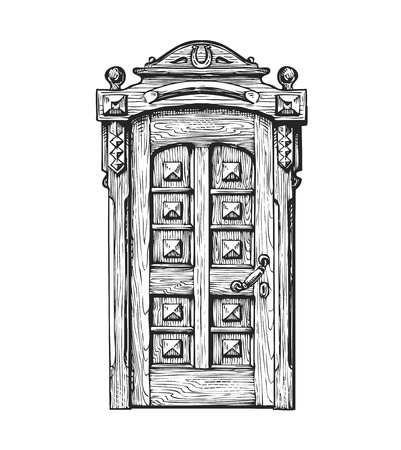 old wooden door: Hand drawn vintage door. Sketch vector illustration isolated on white background Illustration