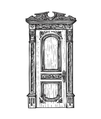 Freehand tekening deur. Schets vector geïsoleerd op een witte achtergrond Vector Illustratie