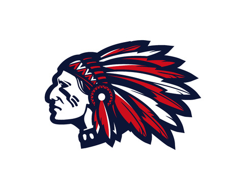 American indian chief vector logo or icon isolated on white background  イラスト・ベクター素材