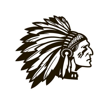 Amerikaanse Indiase Hoofd. Logo of pictogram. Vector illustratie geïsoleerd op een witte achtergrond