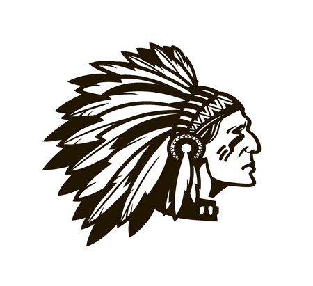 American Indian Chief. Logo or icon. Vector illustration isolated on white background Vettoriali