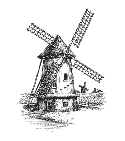 grain fields: Windmill. Hand drawn vintage sketch vector illustration isolated on white background Illustration