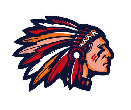 Indische hoofdman. Logo of pictogram. Vector mascotte geïsoleerd op wit Logo