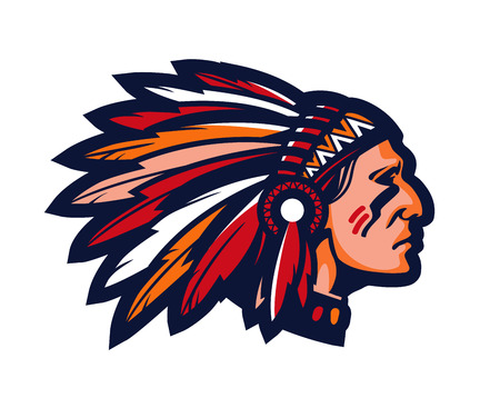 Indian chief. Logo or icon. Vector mascot isolated on white Illustration