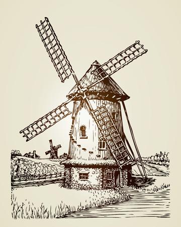 Moulin à vent, moulin ou boulangerie. Illustration vintage dessiné à la main