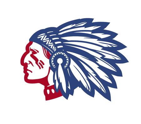 Capo nativo americano. Illustrazione vettoriale isolato su sfondo bianco