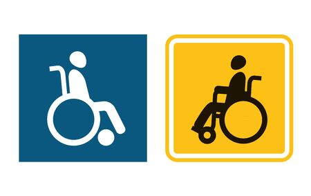 Disabled sign icons. Man in wheelchair. Handicapped invalid sign