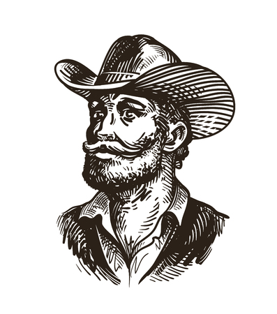 old man portrait: Cowboy, rancher or farmer. Hand-drawn sketch vector illustration