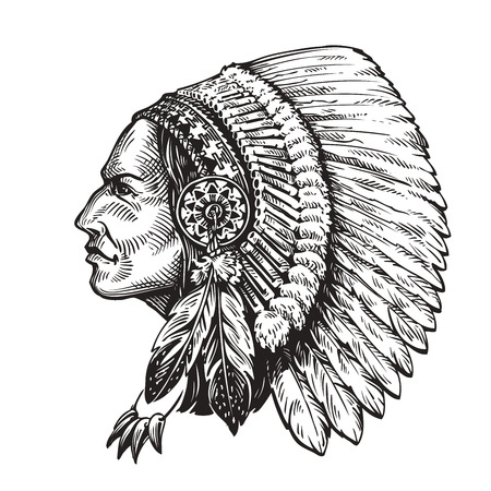 American indian chief. Hand drawn sketch vector illustration