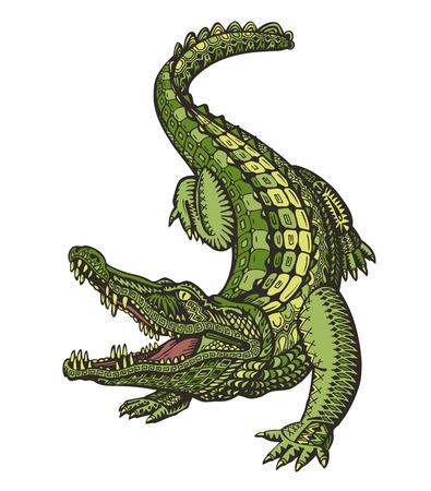 Crocodile or Alligator. Animal in ethnic style. Vector illustration isolated on white background