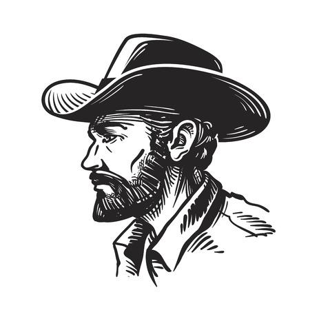 カウボーイ ハットの肖像画男。白い背景で隔離のスケッチ ベクトル図