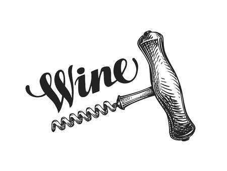 Wine corkscrew. Sketch vector illustration isolated on white background Stock Illustratie