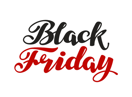 discount banner: Black Friday handmade lettering. Sale vector illustration isolated on white background