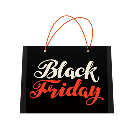 Sale, Black Friday. Bag for shopping. Vector illustration isolated on white background