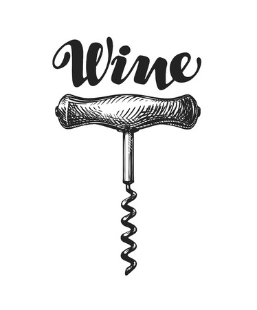 stopper: Wine corkscrew sketch. Vector illustration isolated on white