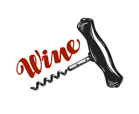 Wine vector logo. Corkscrew, winery icon or symbol isolated on white background