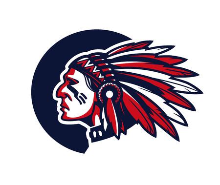 indios americanos: Cara del jefe indio. Ilustración del vector aislado en el fondo blanco