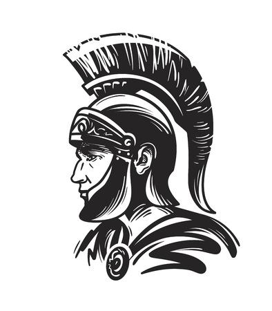 Romeinse centurion soldaat. Schets vectorillustratie geïsoleerd op witte achtergrond Vector Illustratie